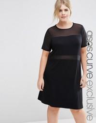 Цельнокройное платье с сетчатыми вставками ASOS CURVE - Черный