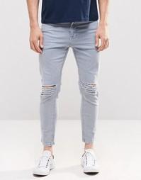 Выбеленные синие джинсы скинни укороченного кроя с прорехами ASOS