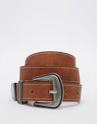 Ремень для джинсов с заклепками и строчкой ASOS - Рыжий