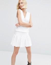 Платье с оборками ASOS - Слоновая кость