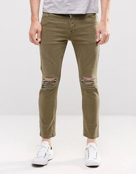 Светло-зеленые укороченные джинсы скинни с прорехами ASOS