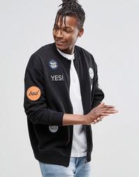 Черная трикотажная куртка-пилот на молнии со стильными накладками Chea Cheap Monday