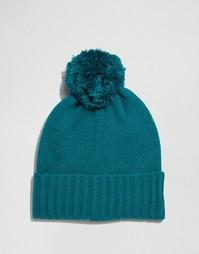 Зеленая шапка-бини с помпоном ASOS - Зеленый