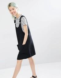 Джинсовый комбинезон-платье Monki - Черный