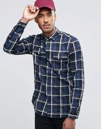 Рубашка в клетку с двумя карманами Jack & Jones - Темно-синий