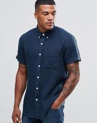Синяя льняная рубашка с короткими рукавами Abercrombie & Fitch