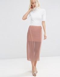 Прозрачная сетчатая юбка с плиссировкой ASOS - Телесный