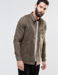Рубашка цвета хаки из искусственной замши с длинными рукавами ASOS