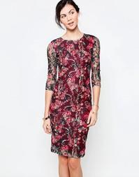 Платье миди с цветочным кружевом Jasmine - Красный