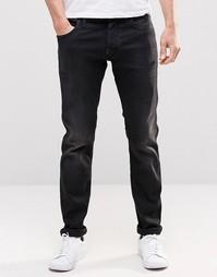 Темные выбеленные джинсы слим G Star Defend - Черный