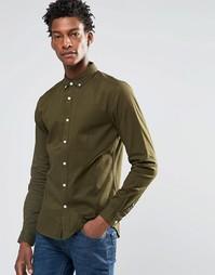 Рубашка скинни цвета хаки с длинными рукавами ASOS - Mid khaki