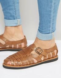 Светло-коричневые кожаные сандалии с пряжкой KG By Kurt Geiger - Рыжий