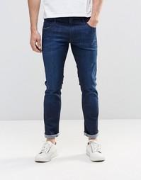 Темные джинсы скинни с выбеленным эффектом BOSS Orange - Темно-синий