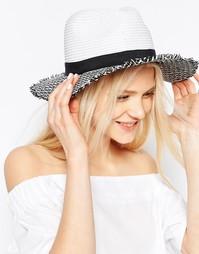 Черно-белая соломенная шляпа с необработанным краем ASOS - Мульти