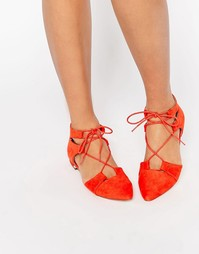 Балетки со шнуровкой и острым носком ASOS LET'S PLAY - Красный