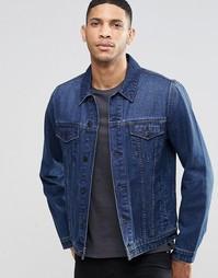 Выбеленная джинсовая куртка слим цвета индиго ASOS - Синий