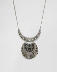 Серебристое ожерелье с подвеской из монет Missguided - Серебряный