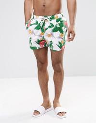 Короткие шорты для плавания с цифровым цветочным принтом ASOS - Белый