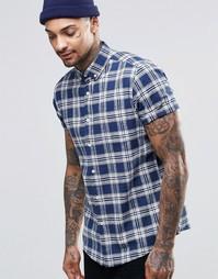 Клетчатая рубашка из смешанного льна с короткими рукавами ASOS - Синий
