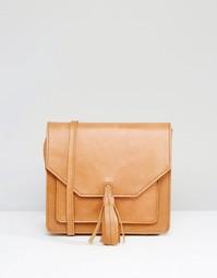 Кожаная сумка через плечо с кисточкой ASOS - Рыжий