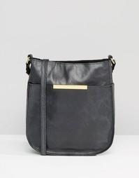 Закругленная снизу кожаная сумка через плечо в винтажном стиле ASOS