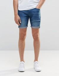 Синие джинсовые шорты слим ASOS - Ярко-синий
