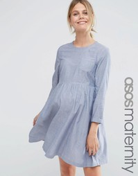 Свободное платье для беременных из шамбре с длинными рукавами ASOS Mat