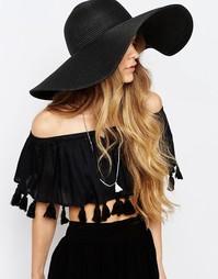 Черная соломенная шляпа с широкими полями Pieces - Черный