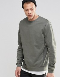ASOS Sweatshirt With Reverse Loopback Cut & Sew Side Panels - Хаки