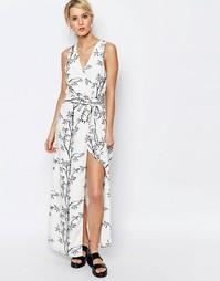 Платье макси с принтом Neon Rose - Черно-белый