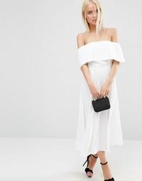 Платье миди для выпускного с открытыми плечами ASOS - Белый