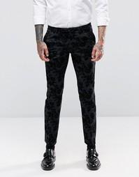 Супероблегающие брюки стретч с цветочной отделкой флок Noose & Monkey