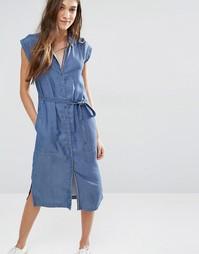 Платье миди из ткани шамбре с ремешком Hilfiger Denim - Индиго