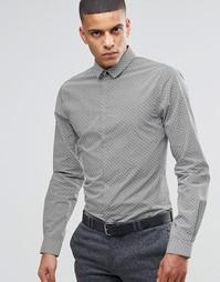 Зауженная строгая рубашка с цветочным принтом Noak - Черный