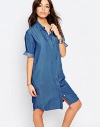 Джинсовое платье-рубашка Only - Светло-голубой деним