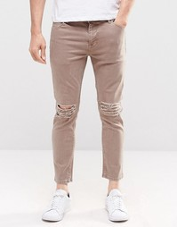 Светло-коричневые укороченные джинсы скинни с прорехами ASOS