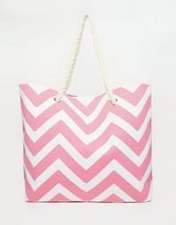 Розовая пляжная сумка с шевронным принтом South Beach - Розовый
