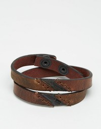 Diesel Aline Leather Wrap Bracelet - Коричневый