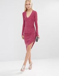 Драпированное платье-футляр с длинными рукавами Club L Essentials
