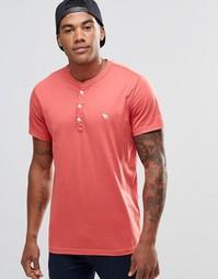Облегающая футболка хенли Abercrombie & Fitch - Cranberry