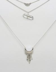 Ожерелье в два ряда с подвесками Ashiana - Серебряный