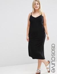 Базовое платье-комбинация в рубчик ASOS CURVE - Черный