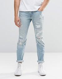 Зауженные рваные джинсы Abercrombie & Fitch - Синий