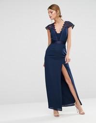 Платье макси с высоким разрезом и фигурным кружевом Elise Ryan