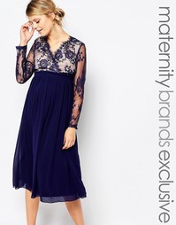 Little Mistress Maternity Lace Panelled Skater Dress - Темно-синий