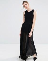 Плиссированное платье макси с вырезом Endless Rose - Черный
