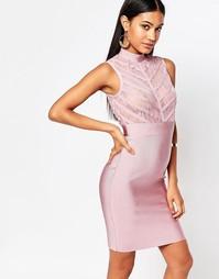 Облегающее бандажное платье с полупрозрачным кружевным лифом Wow Coutu