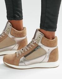 Высокие кроссовки с отделкой металлик ALDO - Серо-коричневый