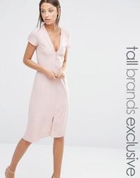 Платье миди с короткими рукавами и пуговицами спереди Alter Tall