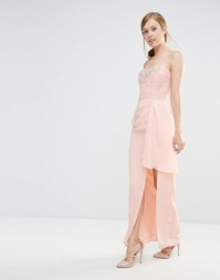 Платье-бандо макси с кружевным лифом и отделкой Elise Ryan - Телесный